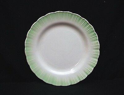 "Old Vintage Green Scalloped White Center 9-1/4"" Luncheon Plate Ring Center Back"