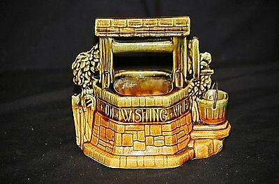 Old Vintage McCoy Art Pottery Wishing Well Planter w Bucket USA Green & Brown
