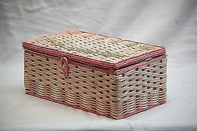 Old Vintage Pink & White Wicker Sewing Basket Box w Handle & Storage Tray MCM