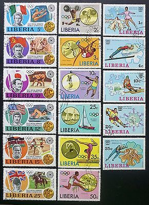 LIBERIA   3 COMPLETE SETS of OLYMPIC STAMPS sports Innsbruck Munich 17 different