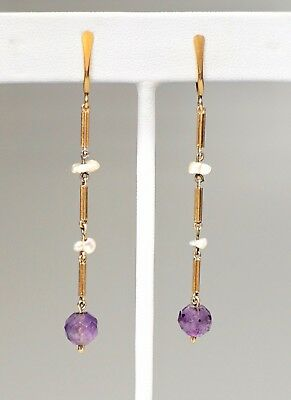 Antique Victorian Gold Filled Seed Pearl + Amethyst Dangle Screwback Earrings