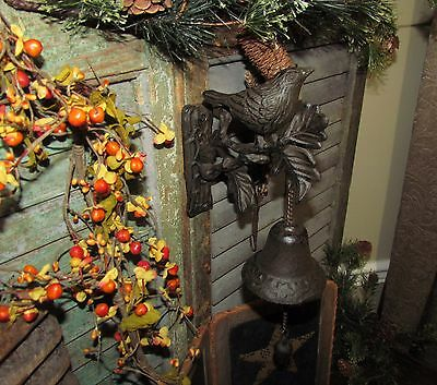 Primitive Antique Vtg Style French Country Cast Iron Metal Chic Bird Door Bell