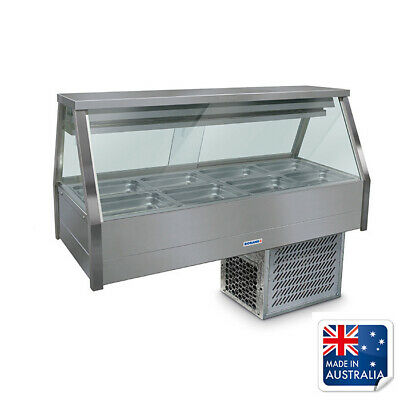 Bain Marie / Cold Food Display Angled Double Row with 8x 1/2 Pans Roband ERX24RD