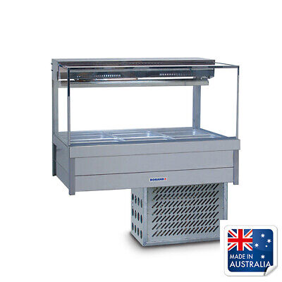 Bain Marie / Cold Food Display Square Double Row inc 6x 1/2 Pans Roband SRX23RD