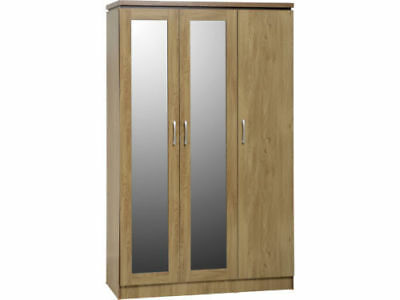 Seconique Charles 3 Door All Hanging Wardrobe - Oak Effect Veneer & Walnut Trim