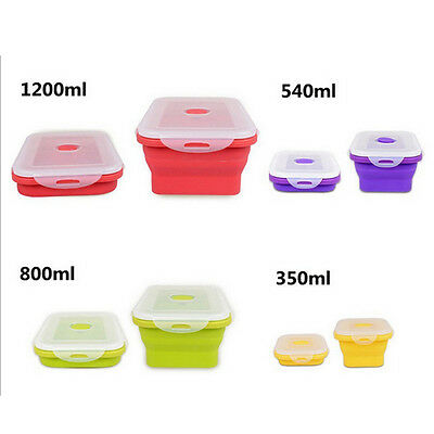 Portable Collapsible Folding Silicone Food Storage Containers Lunch Bento Box
