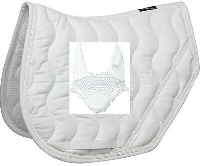 EquiTheme White Jump Saddle Pad and Fly Veil Matching Collection Cob/Full