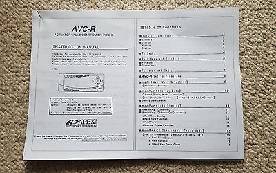 Apexi Avcr Avc-R Electronic Boost Controller Manual Instrutions