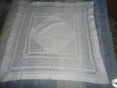 "A Gorgeous  White Linen Drawn Thread Tablecloth  43.5"" X 43"""