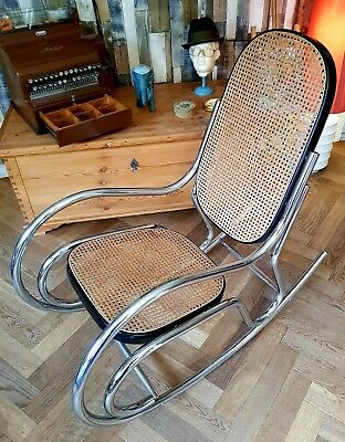 Rocking Chair / Schaukelstuhl - 1970 Chrome Rocking Chair Stil Breuer Bauhaus