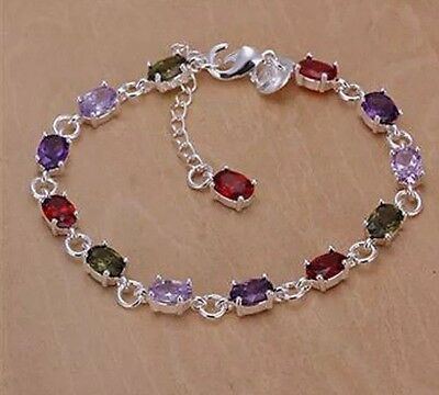 925 Silver Multi Coloured Gem Bracelet With Black Pouch. ( New )