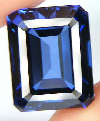 14,26CT. TOP QUALITE T. EMERAUDE 15x11,9 MM. SAPHIR BLEU CORINDON DE SYNTHESE