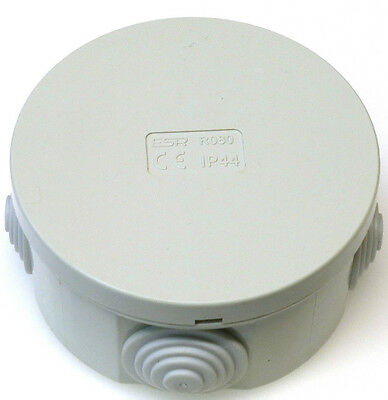 10x Junction Box Round Enclosure IP44 80 x 40mm Grommets Cable Connetion Box