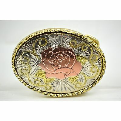 3-TONE Etched LADIES BELT BUCKLE Rose Flower Design Gold Silver MADE IN USA