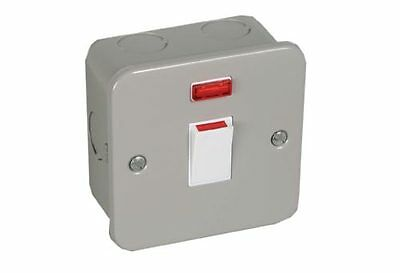 Windsor Industrial Metal Clad 20 AMP Double Pole Neon Switch Grey WI20ADPSN