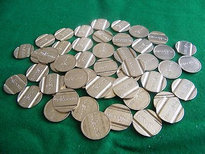 100,  22 X 2 mm BRASS TOKENS, 2 GROOVES, VENDING, GAMING, ECT