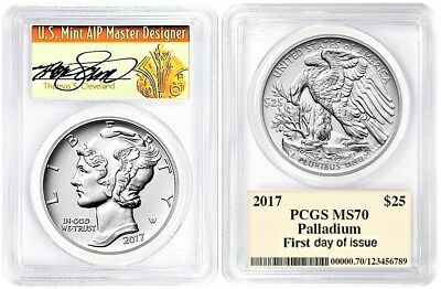 2017 1 oz Palladium American Eagle $25 PCGS MS70 FIRST DAY OF ISSUE CLEVELAND