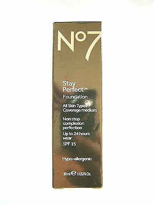 No7 STAY PERFECT FOUNDATION SPF 15 30ml - VARIOUS SHADES USE DROP DOWN MENU