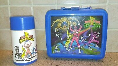 1993 Power Rangers Aladdin Plastic Blue Lunchbox w/ Thermos