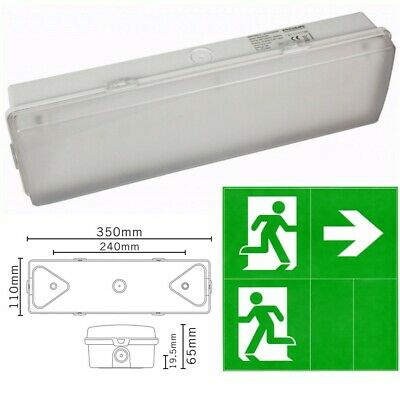 Fire Exit Emergency Ceiling Wall Light LED Maintained Illuminated Bulkhead Sign