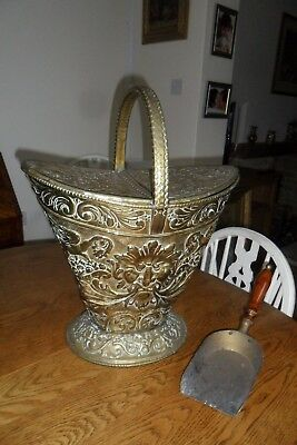 Antique Victorian Brass Embossed Lidded Coal Scuttle with Shovel