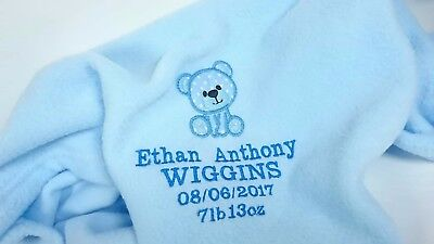 Personalised Embroidered Blanket Name Birth Christening Baby Keepsake Gift