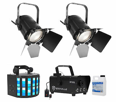 2) Chauvet DJ EVE F-50Z Fresnel DMX White D-Fi Spot Lights+Derby+LED Fog Machine