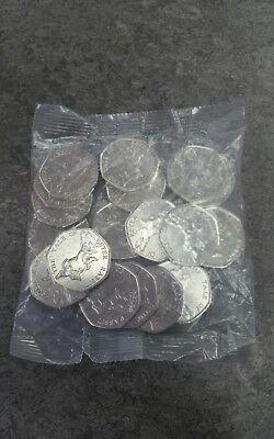 Full Sealed Bag of 20 x 2017 The Tale of Peter Rabbit 50p Coins BU Uncirculated