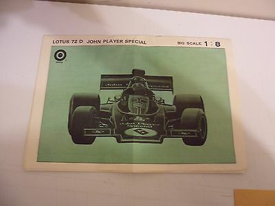 RARE ENTEX 1/8 Lotus 72D JOHN PLAYER SPECIAL F1 model kit instruction only
