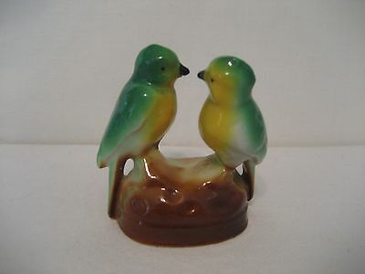 Porcelain Green & Yellow Birds on Brown Mound-Indented Japan-Figurine