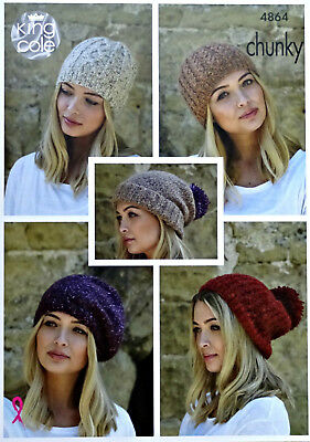 KNITTING PATTERN Womens Slouch Hat Beret &Cable Hat Indulge Chunky KingCole 4864