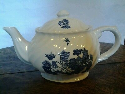 Willow pattern oval teapot