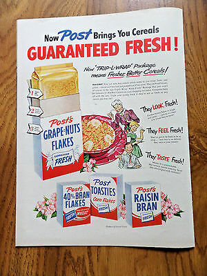 1950 Post's Cereal Ad New Trip-L-Wrap Package Grape Nuts Brank Toasties Raisin