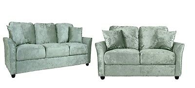 Crushed Velvet or Fabric Sofa Set 1 2 3 Seater Couch Armchair Silver Gold Grey