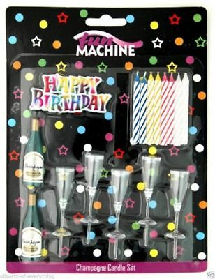 Champagne & Glasses Candle Set Special Birthday Cake Decorations Novelty