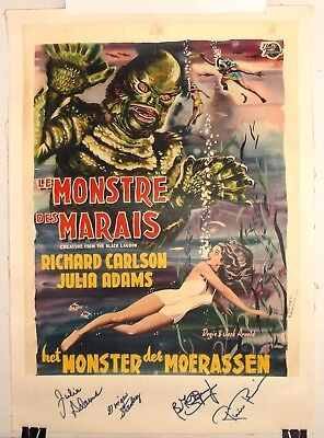 CREATURE FROM THE BLACK LAGOON original SIGNED 50s BELGIAN MONSTER MOVIE POSTER