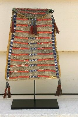 1880s Lakota Quilled and Beaded bag on buffalo hide