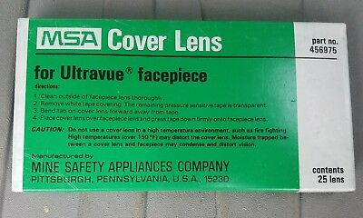 Pack 25 New MSA Cover Lens Ultravue Facepiece Part# 456975