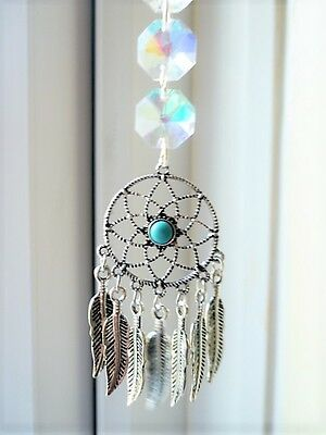 Native American Style Antiqued Feather Dream Catcher Car Mirror Charm Suncatcher