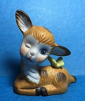 Vintage Ceramic  Fawn/ Doe/Deer Figurine With A Butterfly on Its Back   #13