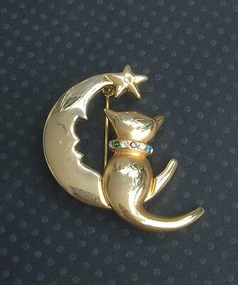 Vintage Figural Gold Tone Cat In The Moon Pin Brooch