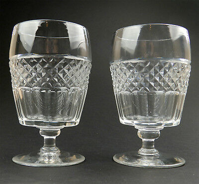 Antique Georgian Glass : A good pair of Barrel & cut large Rummers C.early 19thC