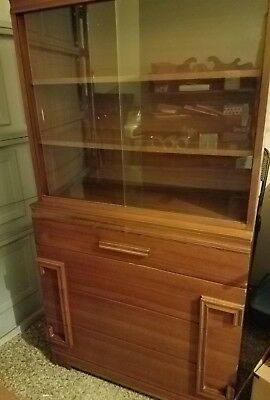 Mid Century Secretary, Library Chest, Cabinet, Flip Down Drawer, Cubbys, Drawers