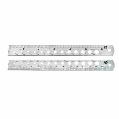 """6"""" (155mm) Steel Machinist Ruler In SAE & Metric with Drill Gauge 1/16""""-1/4"""""""