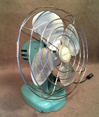 Vintage Steampunk Turquoise Eskimo Tabletop Fan Metal Space Saving Prop