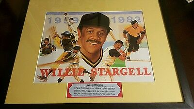 "Willie Stargell Print, Plague, Matted Art, Professionally Framed 21"" X 17"" Nice"