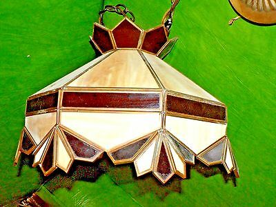 RARE vintage stained SLAG glass hanging lamp GREAT CONDITION