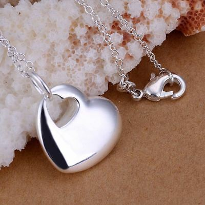 -UK- Silver Plated Double Hollow Love Heart With Hole Pendant Necklace- Gift Bag