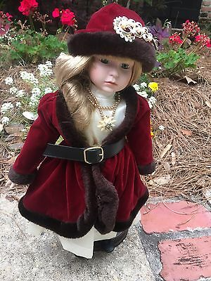"""Camelot Hand Crafted Doll """"Amy"""" QVC with heavy wood base Vintage Pin"""