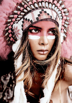 Girl Native American Indian Headdress Art Quality Canvas Print LARGE